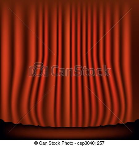 450x470 Theater Stage With Red Curtain. Vector Illustration.
