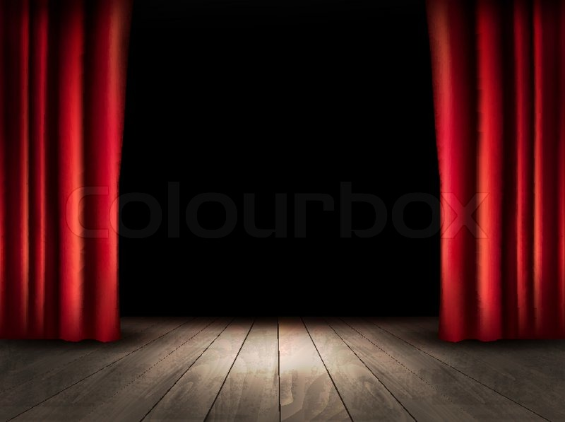 800x597 Theater Stage With Wooden Floor And Red Curtains. Vector. Stock