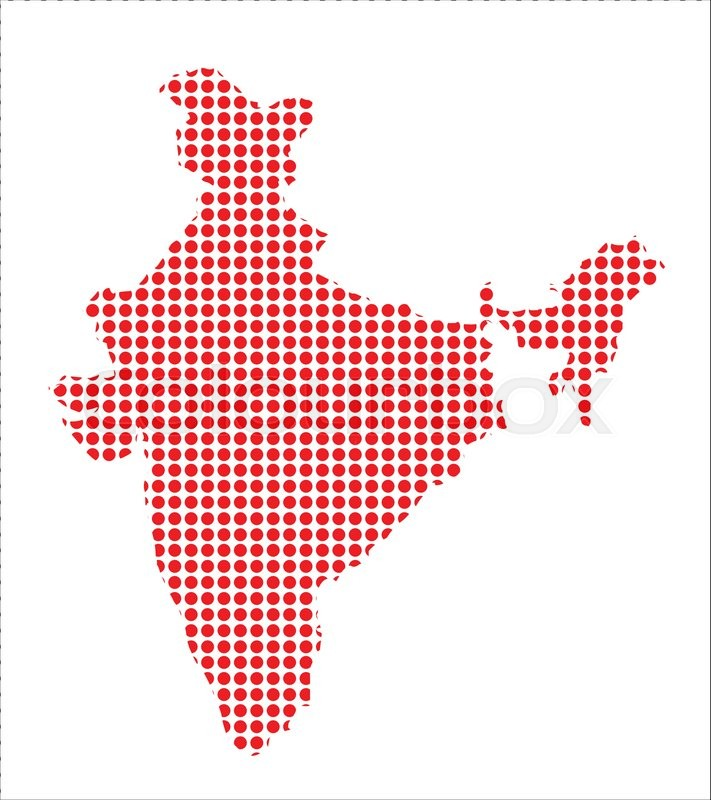 711x800 Map Of India Created From A Series Of Red Dots Stock Vector