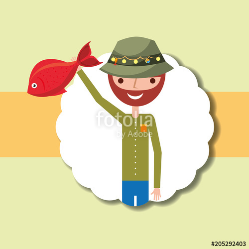 500x500 Fisherman Cartoon Character Holding Red Fish Vector Illustration