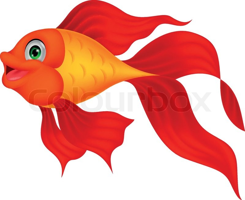 800x651 Cute Golden Fish Cartoon Stock Vector Colourbox