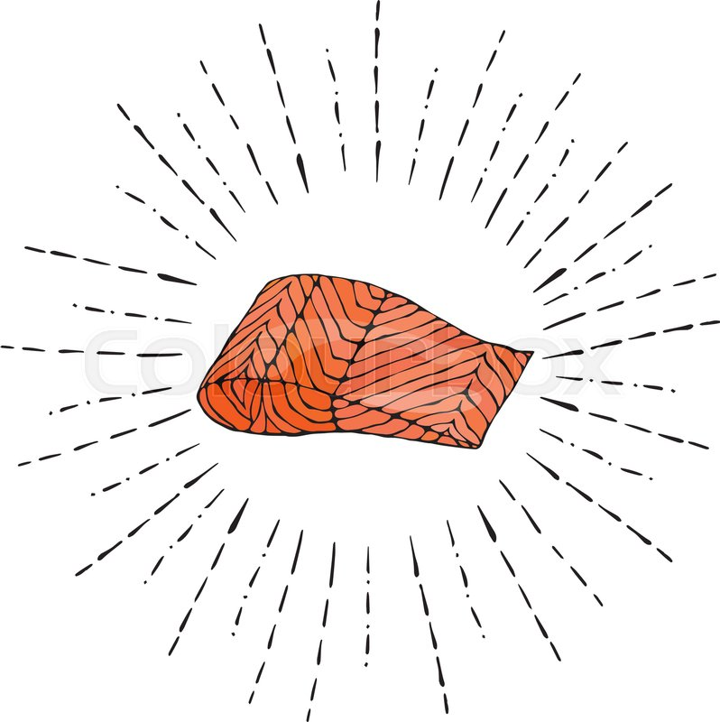 798x800 Image Steak Of Red Fish Salmon In Sun Rays. Vector Illustration