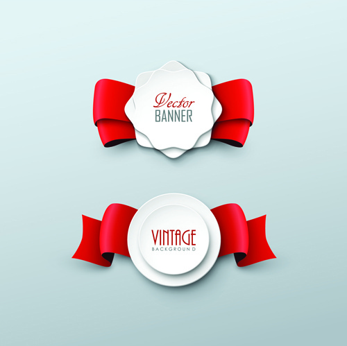500x499 Paper Labels And Red Ribbon Vector Free Vector In Adobe