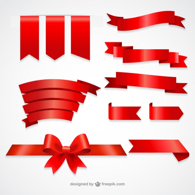 626x626 Collection Of Red Ribbons Vector Free Download