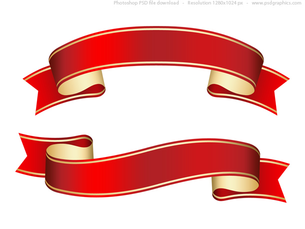 610x458 Curled Red Ribbon With A Gold Stripes Shiny Decorative Element