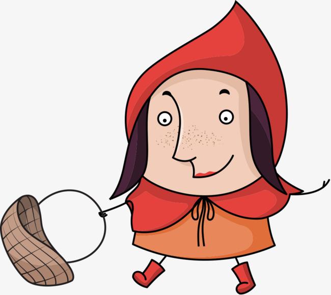 650x580 Little Red Riding Hood Scene Vector Illustration Flat, Vector
