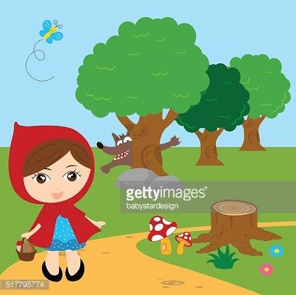 417x415 Little Red Riding Hood Vector Illustration Premium Clipart
