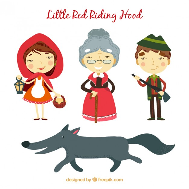 626x626 Little Red Riding Hood Characters Vector Premium Download