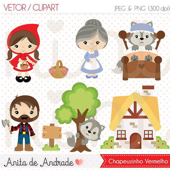 570x570 Little Red Riding Hood Vector, Wolf Clipart