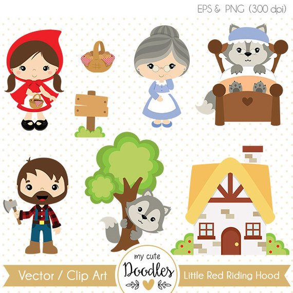570x570 Little Red Riding Hood Vector Wolf Clipart Commercial Use Etsy