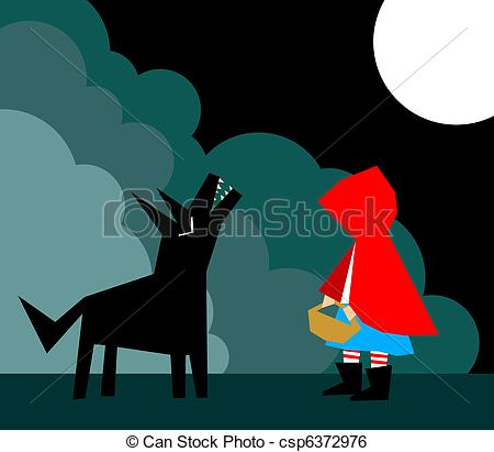 450x411 Little Red Riding Hood And The Wolf In The Forest.