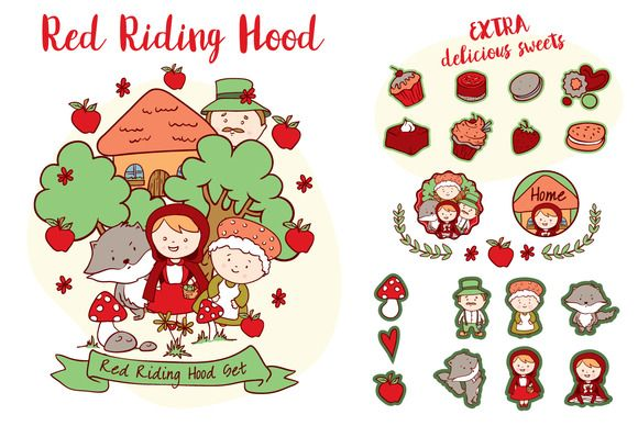 580x388 Red Riding Hood Vector Set By Ralucagheorghe88 Illustrations