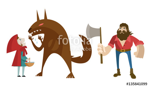 500x293 Little Red Riding Hood With Big Bad Wolf And Lumberjack Hunter