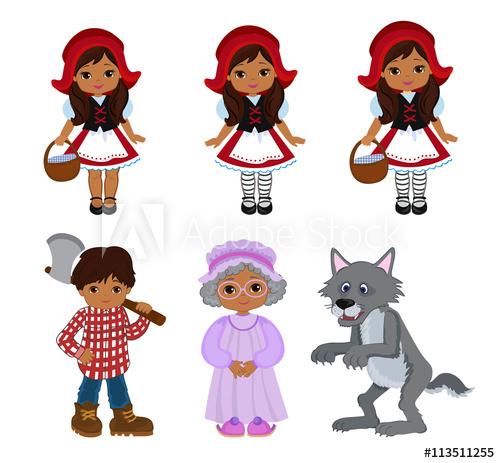 500x463 Cartoon Vector Illustrations Set Of Little Red Riding Hood Fairy