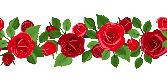 700x350 Horizontal Seamless Background With Red Roses. Vector. Sticker