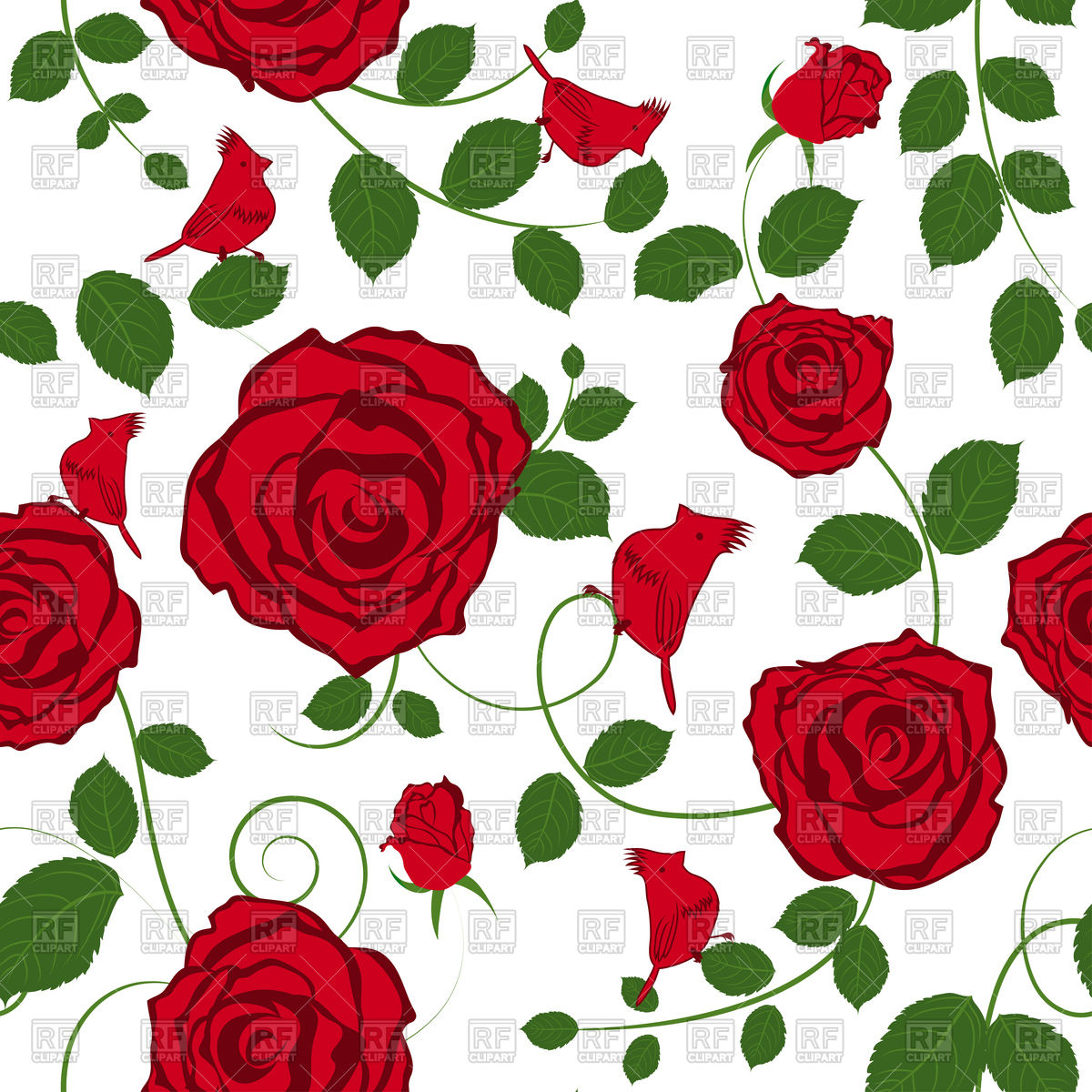 1200x1200 Seamless Red Roses Floral Pattern Vector Image Vector Artwork Of