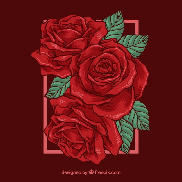 626x626 Beautiful Background With Red Roses Vector Free Download
