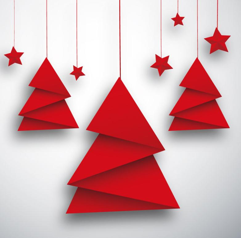 782x771 Origami Christmas Tree And Red Star Card Vector Free Vector