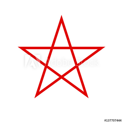 500x500 Pentagram Icon. Red Star. Vector.