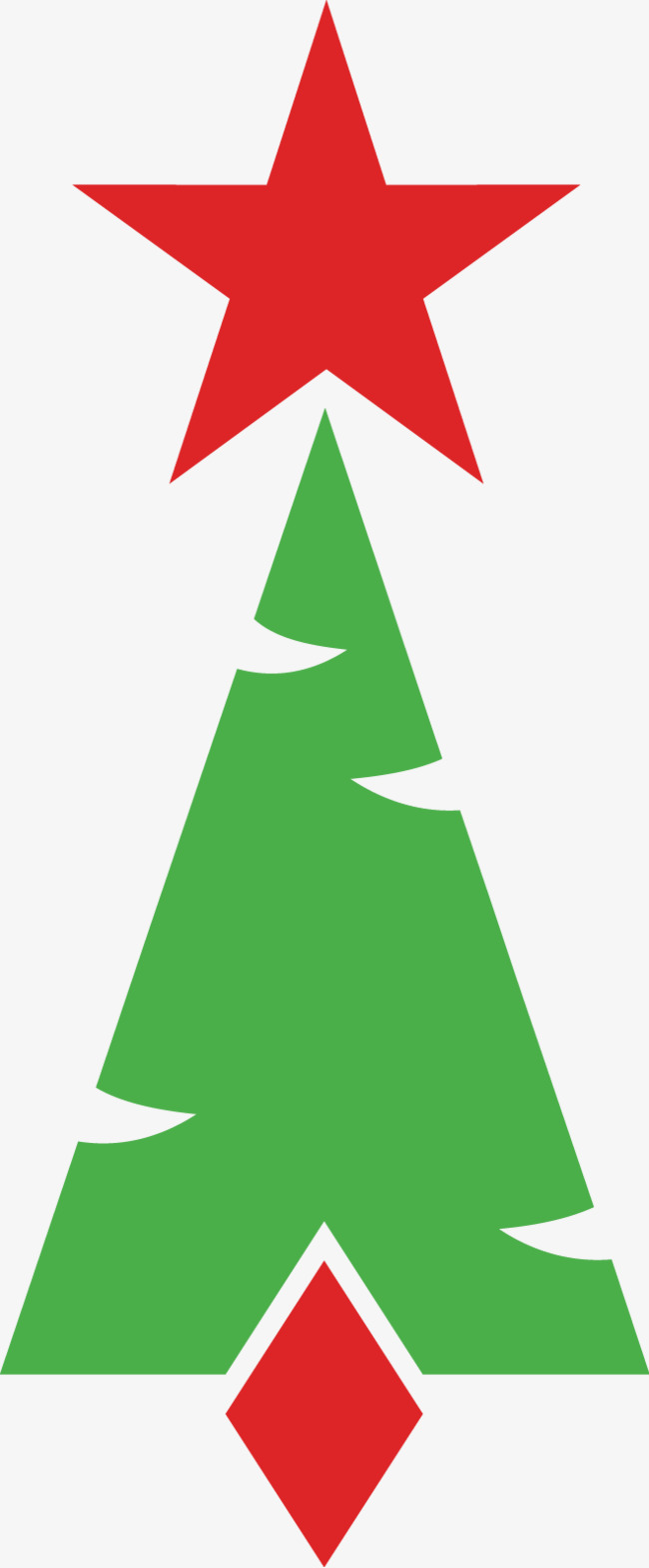 650x1568 Red Star Christmas Tree, Star Vector, Christmas Vector, Tree