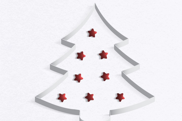 720x479 Christmas Tree Made Of White Paper With A Red Star. Vector