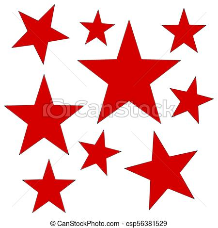 450x470 Red Stars. Red Five Pointed Stars For Design.