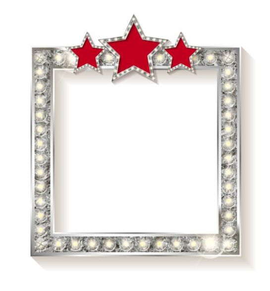 545x588 Silver Diamond Frame With Red Star Vector 02 Free Download