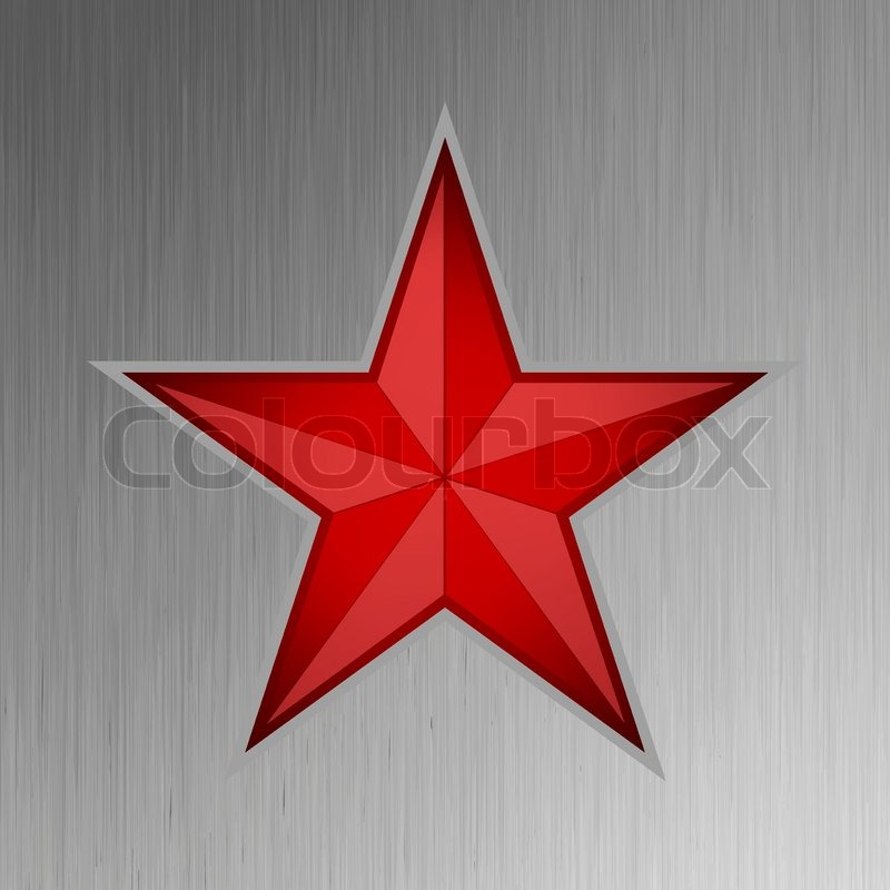800x800 Vector Illustration Of A Red Star On Steel Background Stock