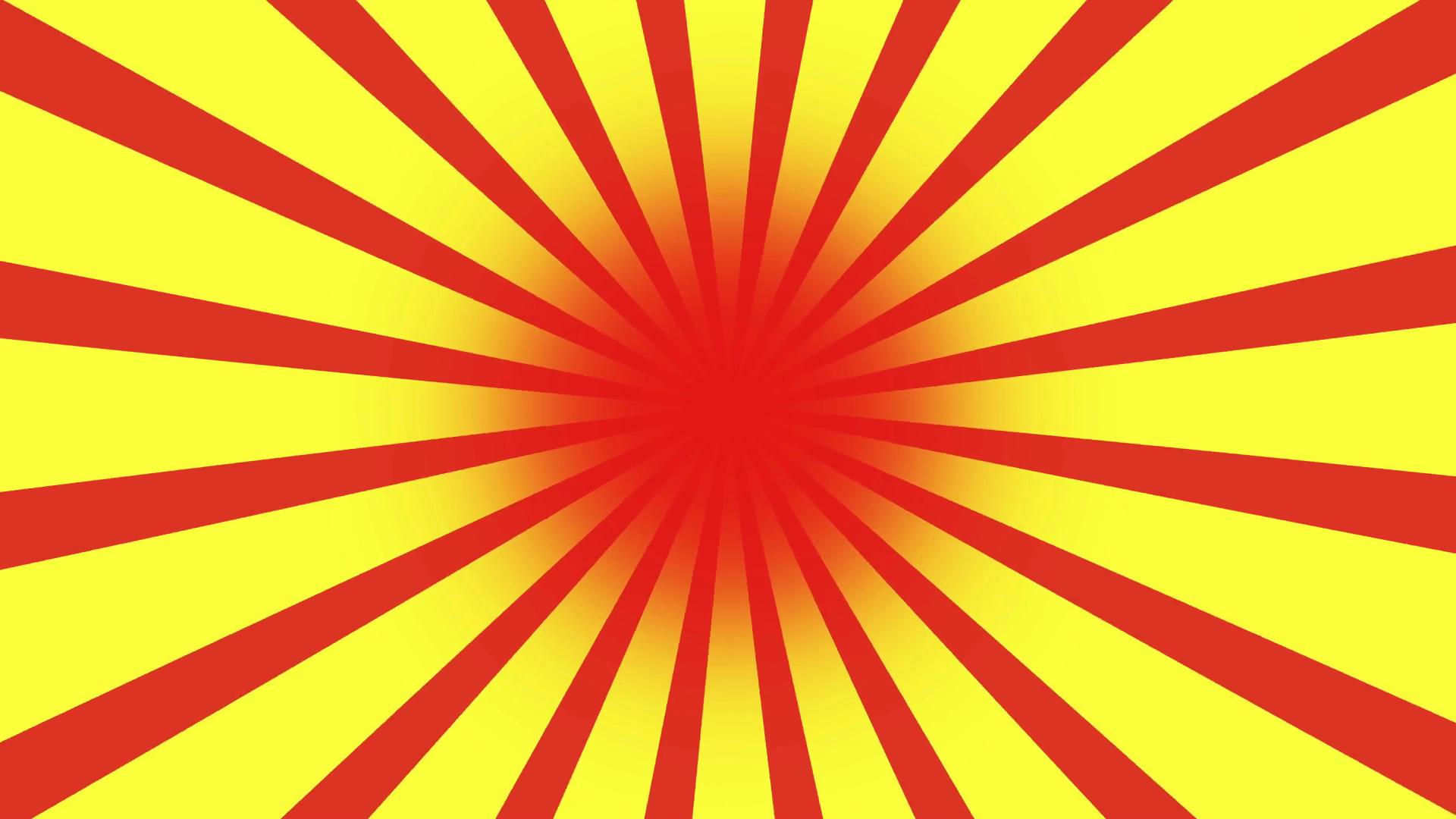 1920x1080 Red And Yellow Burst Vector Background. Cartoon Sun Light Yellow