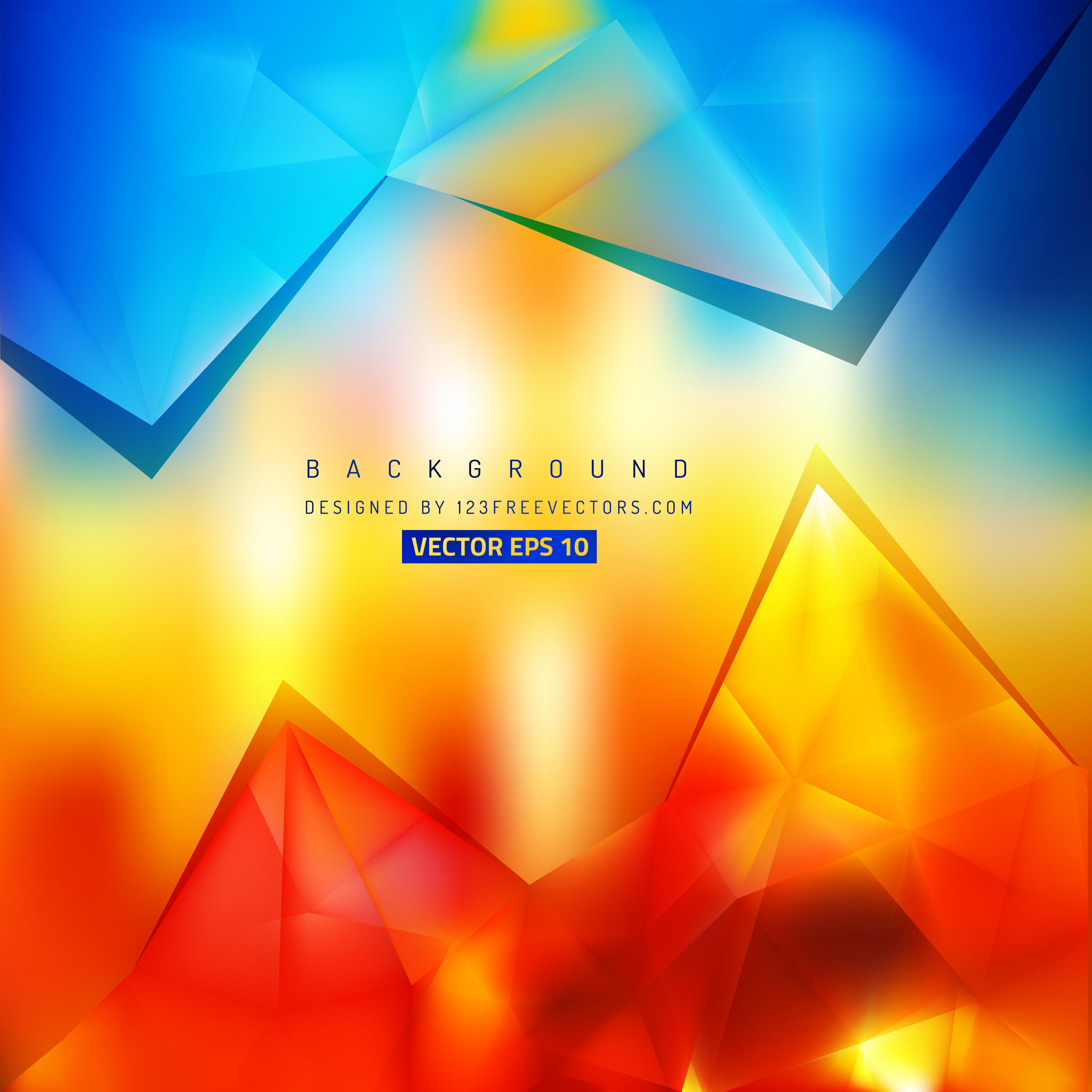 3333x3333 Blue Red Yellow Triangle Polygonal Background 123freevectors