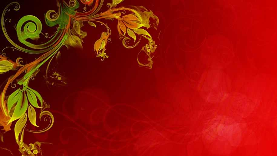 915x515 Floral Vector Red Background Hd