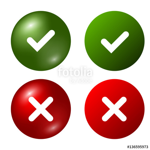 500x500 Tick And Cross Signs. Green Checkmark Ok And Red X Icons, Isolated