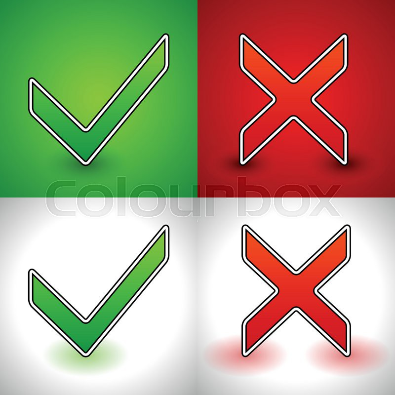 800x800 Vector Illustration Of A Green Check Mark And A Red Cross (X Shape