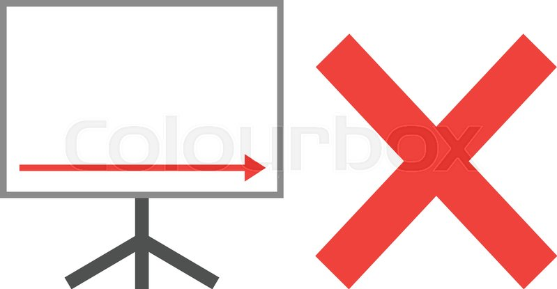 799x415 Vector White Board With Red Arrow Pointing Right Down With Red X