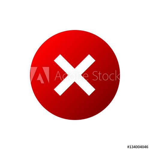500x500 Cross Sign Element. Red X Icon Isolated On White Background. Mark