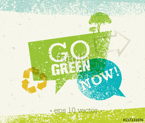 500x423 Go Green Recycle Reduce Reuse Eco Poster Concept. Vector Creative