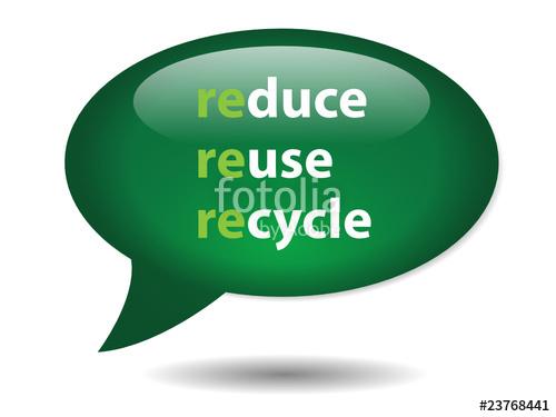 500x375 Reduce Reuse Recycle Speech Bubble Icon (Button Go Green Nature
