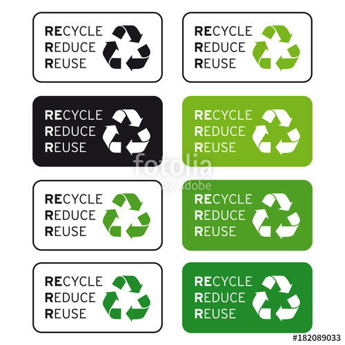 500x500 Recycle Reduce Reuse Logo Set Stock Image And Royalty Free Vector
