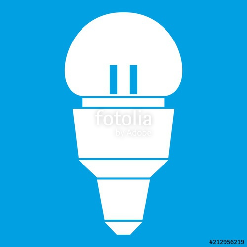 500x500 Reflector Bulb Icon White Isolated On Blue Background Vector