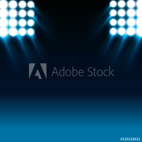500x500 Reflector White Lights And Blue Stage Background. Vector
