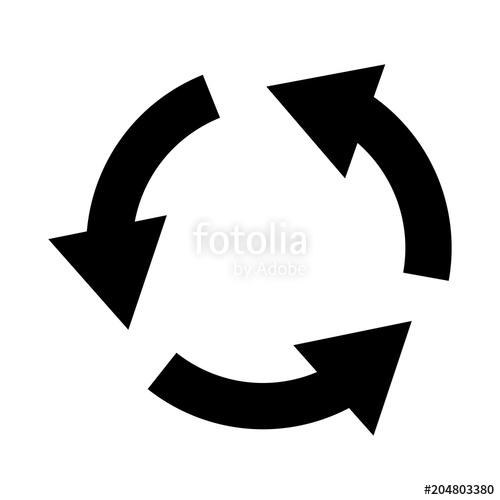 500x500 Refresh Icon. Three Circle Arrows Icon. Vector Illustration Stock