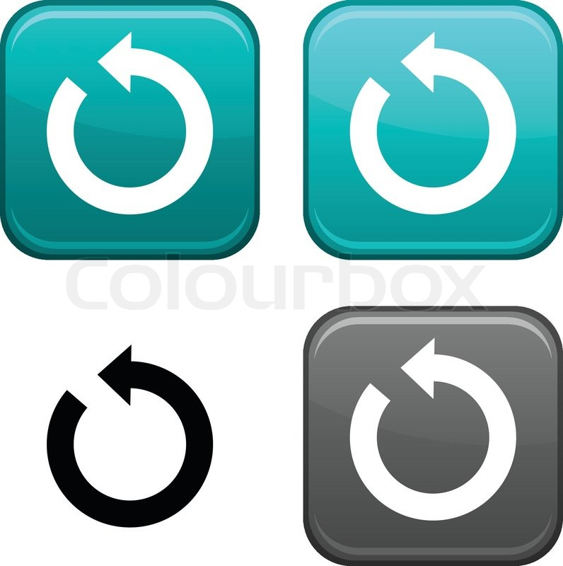 796x800 Refresh Square Buttons Black Icon Included Stock Vector Colourbox