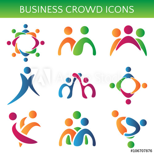 500x500 Set Of Icons Crowd Business Relationship. Vector Illustration