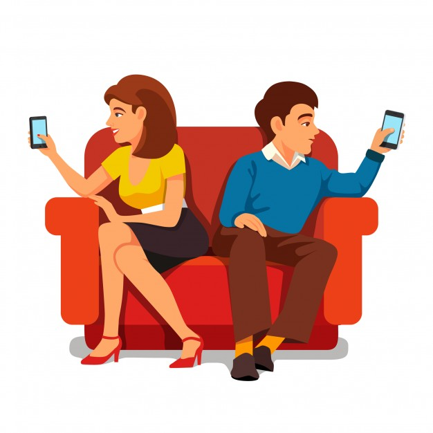 626x626 Smartphone Addiction Family Relationship Vector Free Download