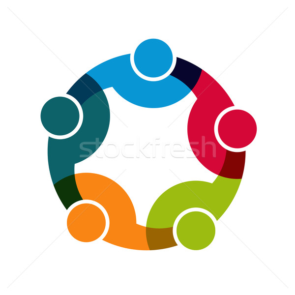 600x600 Teamwork Social Network, Group Of 5 People Business Relationship