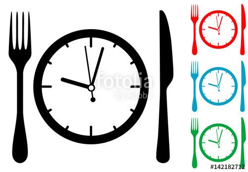 500x348 Icono Plano Cubiertos Alrededor Del Reloj Varios Colores Stock