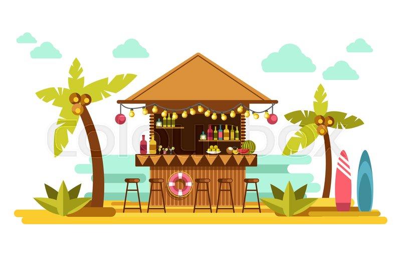 800x550 Beach Bar Counter Of Tropical Resort. Vector Flat Design Of Exotic