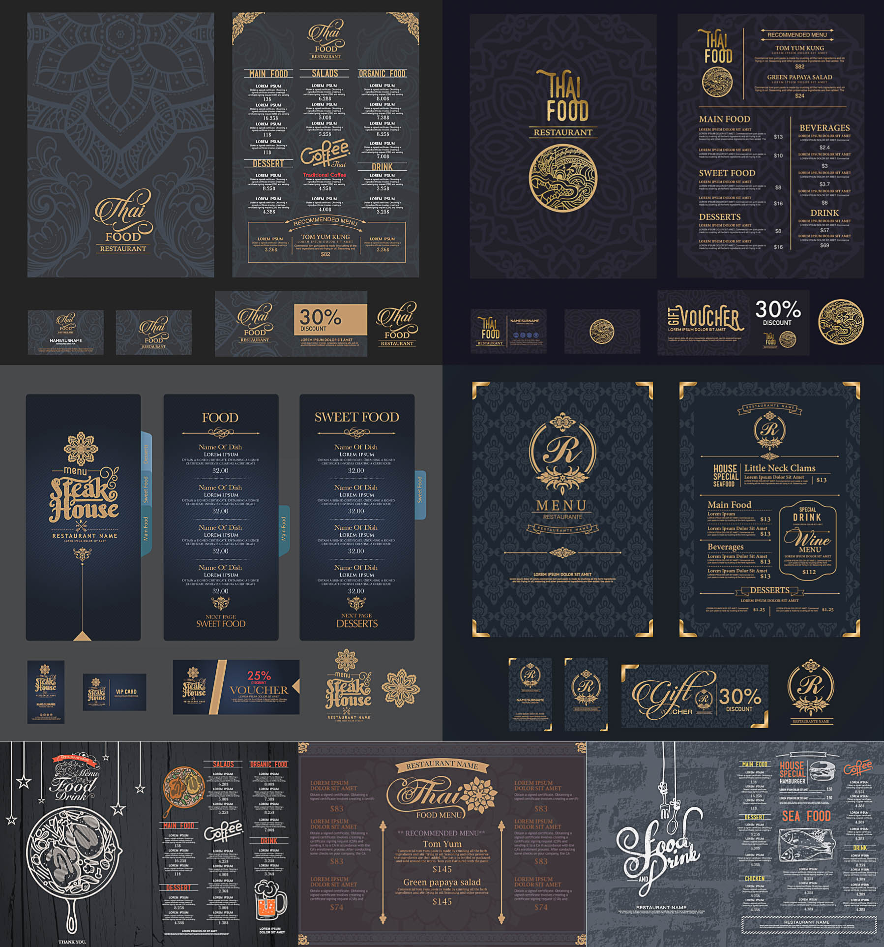 1798x1925 Restaurant Menu, Gift Voucher And Vip Card Vector Free Download