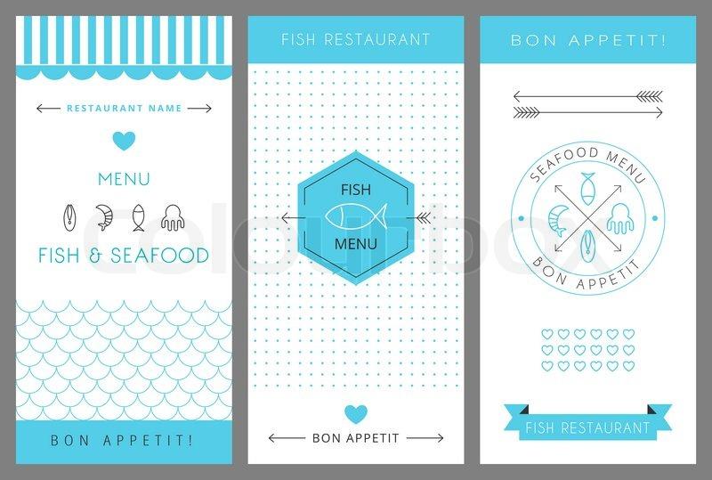 800x539 Restaurant Menu Design Template. Fish And Seafood Menu. Vector