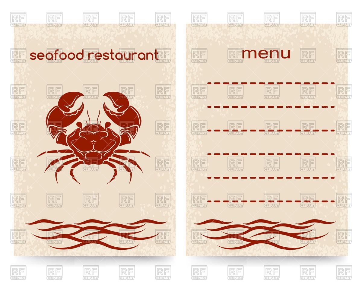 1200x965 Template For Seafood Restaurant Menu Vector Image Vector Artwork